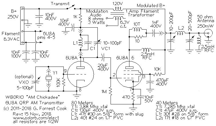 The AM Chickadee 6U8A QRP AM Transmitter