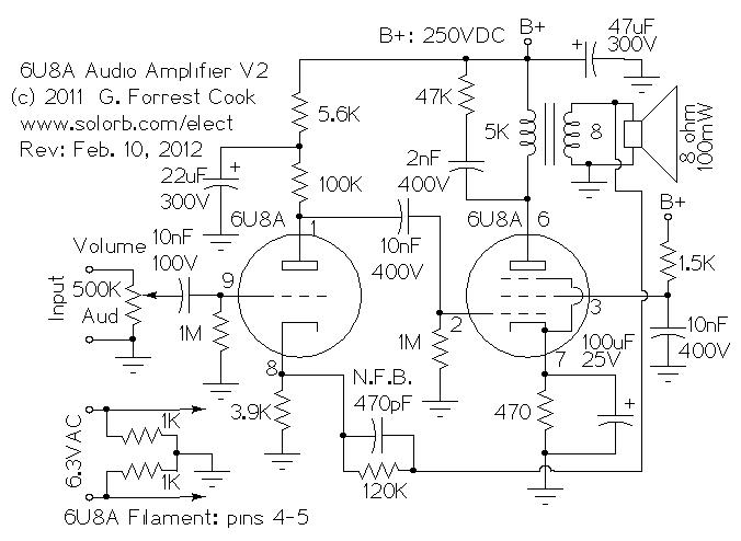 low power 6u8a vacuum tube audio amp v2 on simple audio amplifier schematic