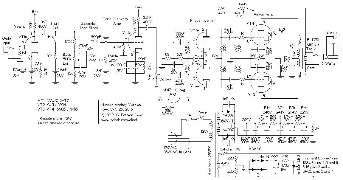 The Howler Monkey Push Pull 6aq5 Guitar Rhsolorb: Push Pull Schematic At Elf-jo.com
