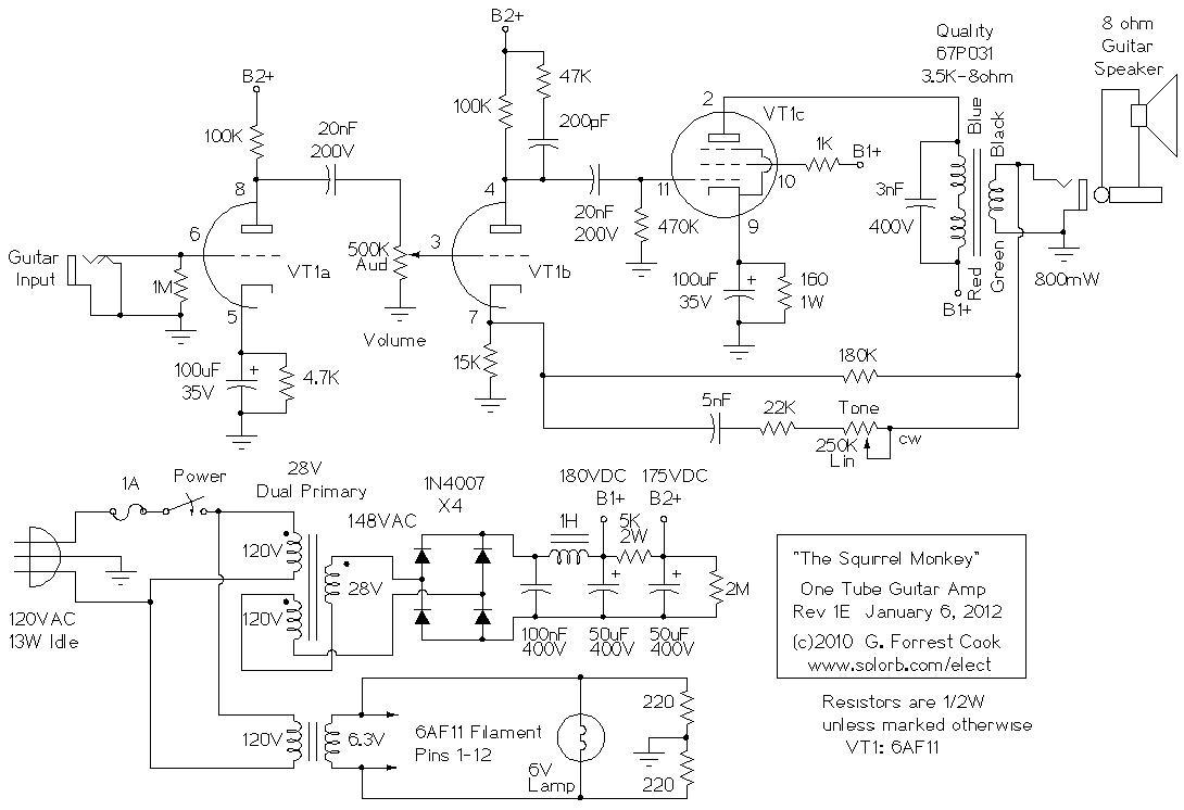 SquirrelMonkeyR1 Diy Guitar Amp Schematics on diy audio mixer schematics, diy synthesizer schematics, diy reverb schematics, diy effects pedals schematics,
