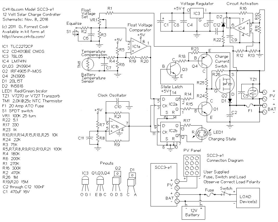 Charge Controller Schematic Free Wiring Diagram For You Lm324 Pin Scc3 12 Volt 20 Amp Solar Pwm